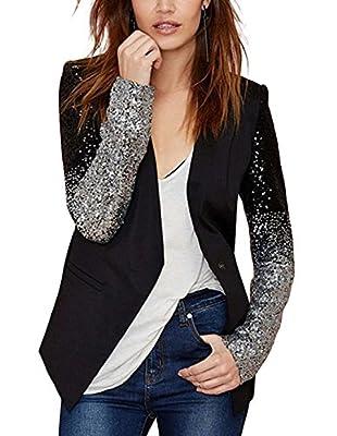 Richlulu Womens Silver Sequins Pu Patchwork Long Sleeve Chic Tops Blazer Coats