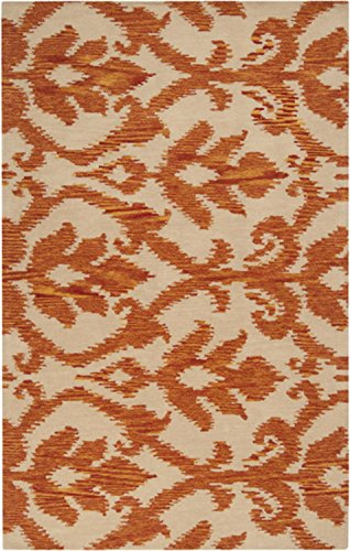 Diva At Home 5' x 8' Mohana Beige and Amber Wool Area Throw Rug