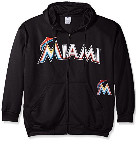 MLB Miami Marlins Men's Full Zip Poly Fleece with Wordmark Chest with Logo near Pocket, 6X, Black 6x Full Zip Hooded Fleece
