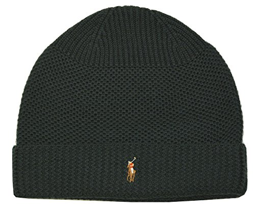 - Polo Ralph Lauren Men's Merino Wool Thermal Stitch Beanie-Dark Green