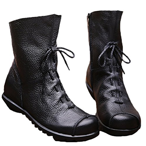 Style Boots Shoes Soft Women's Handmade Vogstyle Black 1 Flat Leather RaCT7wq