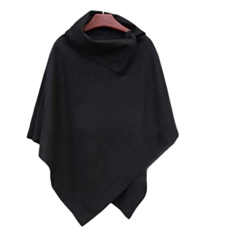 Gonikm Women Fashion Cape Asymmetric Hem Cloak Pure Color Leisure Wool Blend Outwear