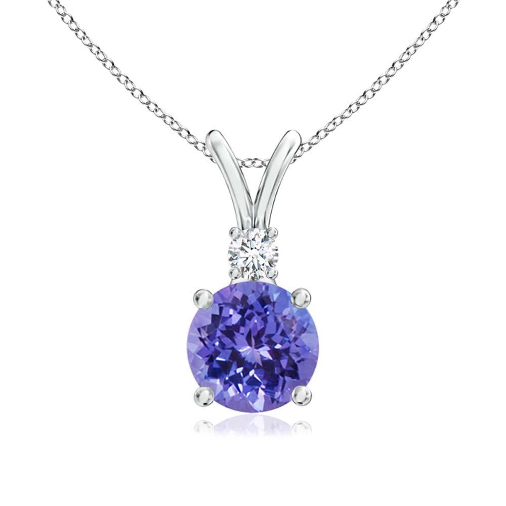Diamant en or blanc 14 carats Fn Silvernshine Jewels Pendentif V-Bail Rond 1.20 Ct en Tanzanite pour Femme avec Sim