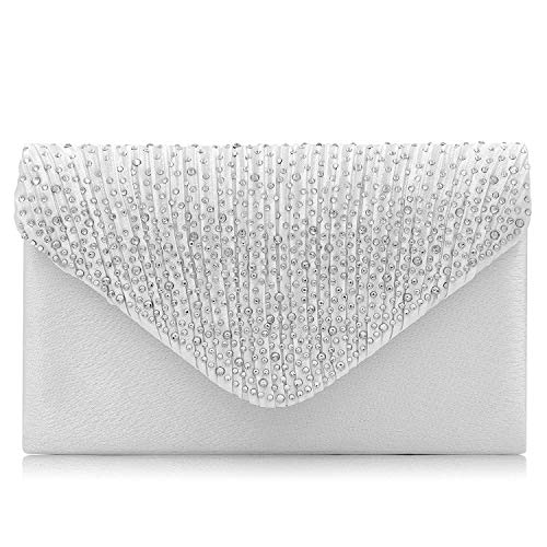 Silver Girls Handbag (Women Evening Bag Envelope Rhinestone Frosted Clutches Party Bridal Clutch Purse (Silver))