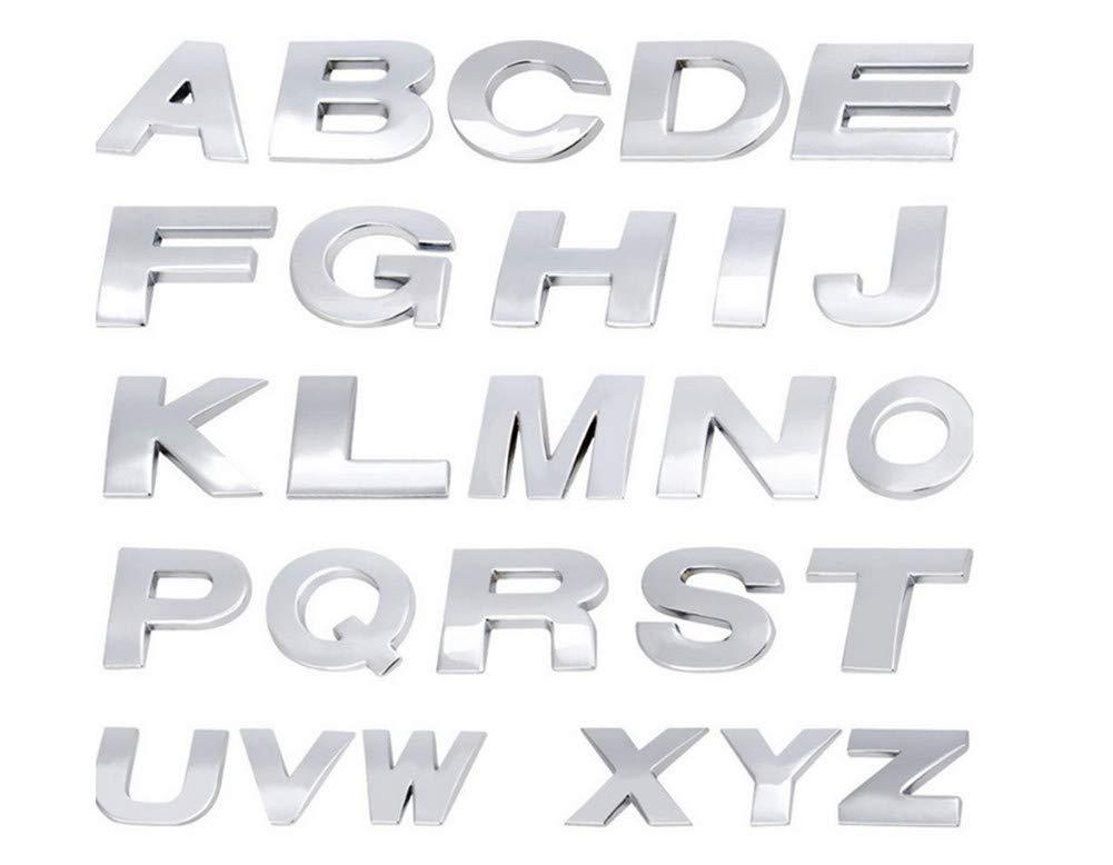 Fully 2.5 CM Plata, V 0.98Letras de Bricolaje N/úmero del Alfabeto S/ímbolo Charm 3D Metal Coche Auto Emblema Carta Insignia Etiqueta