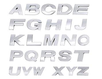 Fully 25cm098 Diy 3d Metall Aufkleber Emblem Buchstaben Nummer Zeichen Selbstklebenden Für Auto Laptop Motorrad Silber Stil B Bitte Email Uns