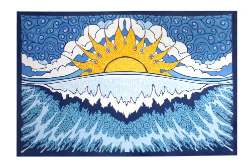 (Sunshine Joy Sun Wave Surf Tapestry Tablecloth Beach Sheet Wall Art 60x 90 Inches - Classic)