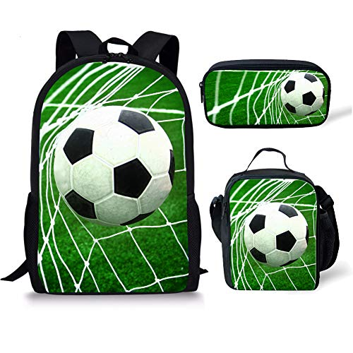 Soccer Football Kindergarten Preschool Durable Packable Bookbag for Girl Boy Student to Hold Book Rucksack with Insulted Lunch Bag for Women School Office Work Pencil Bag for pen 3 Piece Sets 17 Inch