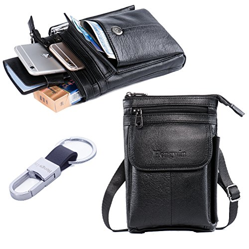 Price comparison product image iPhone 7 Plus Case Holster Premium Genuine Leather Men Travel Bag Cell phone Crossbody Purse Belt Waist Pouch Fanny Messager Shoulder Pack for iPhone 6S Plus Samsung S6 S7 Edge Plus+Free Keyring-Black