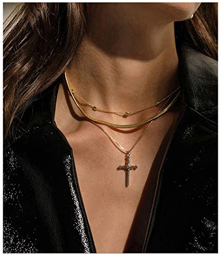 ACC PLANET Cross Pendant Necklace 14K Gold Plated Station Snake Box Chain Gold Pendant Layered Necklace Women