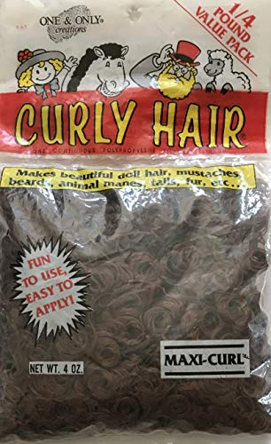 ONE & ONLY Craft 1 Value Pack 1/4 Pound of Maxi-CURL Curly Doll Hair Color Autumn Brown Synthetic Hair (1990)