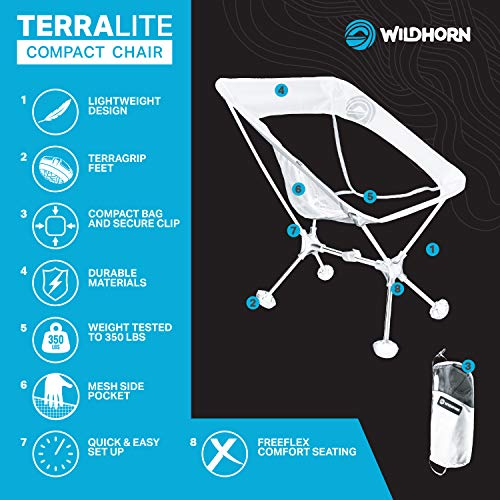 Terralite Portable Camp Chair. Perfect for Camping, Beach, Backpacking & Outdoor Festivals. Compact & Heavy Duty (Supports 300 lbs). Includes TerraGrip Feet- Won't Sink in The Sand or Mud.