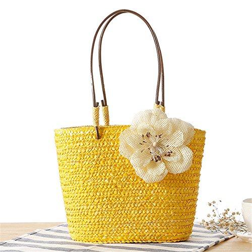 Beach Basket Meaeo Popular Casual Handle Female Bag Yellow Shoulder Summer Straw Bags Shopping In Flower Weaving Miss Women Bag Trips Green 7rqB07w
