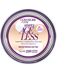 COVERGIRL & Olay Simply Ageless Instant Wrinkle Defying Foundation Creamy Natural 0.4 Ounce Pot, Foundation Plus Titanium Dioxide Sunscreen