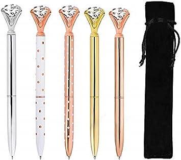 Black and White Diamond-topped Ballpoint Pens