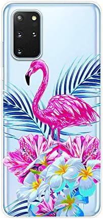 Uposao Funda para Samsung Galaxy S20 Plus Carcasa Transparente Dibujos Belleza Cool Lindo Motivo Silicona Gel TPU Suave Ultra Delgado Híbrido Case Bumper Antichoque Funda de Protector,Flamenco Rosa