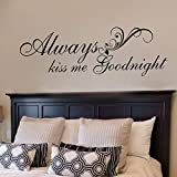 wall decals kiss - FlyWallD Wall Decal Warmly for Bedroom Quote-Always Kiss Me Goodnight Art Vinyl Decor