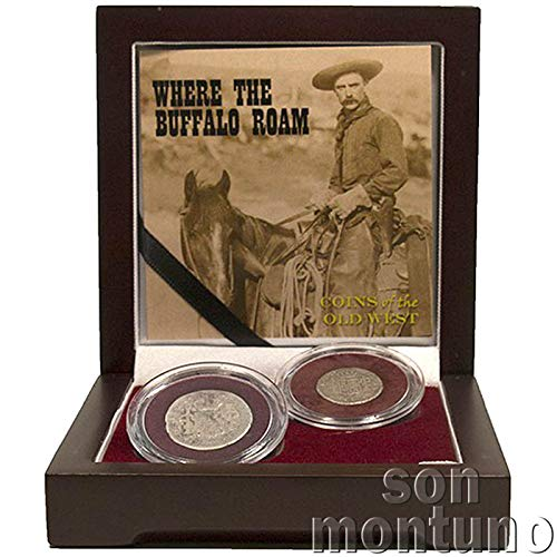 WHERE THE BUFFALO ROAM - Cowboy Money Coin Set of the Wild West in Wood Box with Certificate of Authenticity - SPANISH COINS OF THE OLD WEST