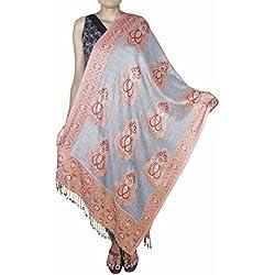 SKAVIJ Fashion Scarves for Women Soft Cashmere Feel Lace Shawl Silver