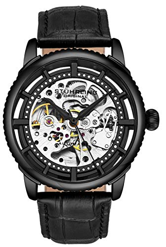 "Stuhrling Original Mens""Specialty Winchester"" Skeleton Automatic Self Winding Dress Watch with Premium Leather Band"