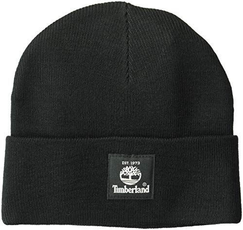 (Timberland Men's Short Watch Cap with Woven Label, Black, One Size)