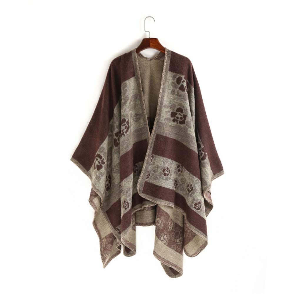 Brown Vintage Flower Leaves Printing Design Lady Cape Simple Pure color Shawls and Wraps Scarf Wrap Shawl Winter Stole for Women (color   bluee)