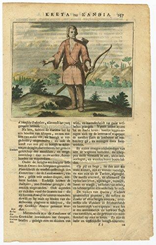 Crete History Of Costume (Antique Print-CRETE-CANDIA-BOW-MAN-GREECE-COSTUME-COLOURED-Dapper-1688)