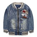 eTree Boys' Denim Zipper Patchs Embroidery Hat Pattern Coats Outerwear Size 2