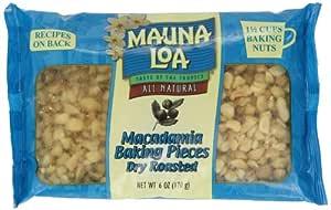 Mauna Loa Macadamia Baking Pieces, Dry Roasted, 6-Ounce Bags (Pack of 4)
