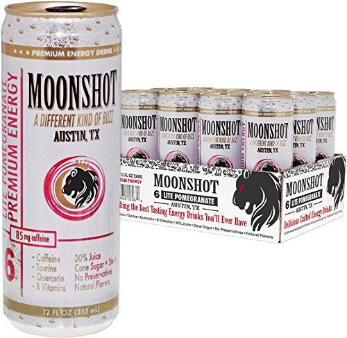 MOONSHOT Sparkling Lite Pomegranate Energy Drink • 30% Juice • 85mg Caffeine • Pure Cane Sugar + Stevia • No Artificial Flavors, Sweeteners, Colors or Preservatives • All Natural Energy Drinks Online (Rockstar Energy Sparkling compare prices)