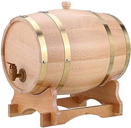 CXD Barriles de Madera de Roble de Vino Personalizadas, para el envejecimiento de la Salsa de Whisky Bourbon Tequila Ron Cerveza del Puerto del Vino Caliente y Mucho más 3L,1