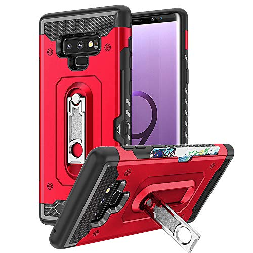 Kickstand for Samsung Galaxy Note 9 Cover Heavy Duty Rugged Card Holder TPU N9 Not9 6.4 Inch (Red) ()