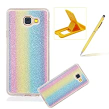 Cover for Samsung Galaxy A5 2017,Rubber Case for Samsung Galaxy A5 2017,Herzzer Super Slim [Gradient Color Changing] Dust Resistant Soft Flexible TPU Bling Glitter Protective Case for Samsung Galaxy A5 2017
