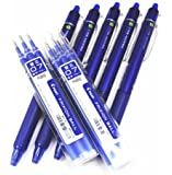 Pilot Frixion Ball Knock Retractable Erasable Gel Ink Pens,fine Point, - 0.7 mm - Blue Ink- Value Set of 5 & 6 Gel Ink Pen Refill Pack
