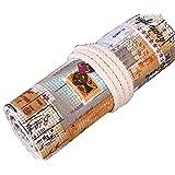 Hillento British style retro handmade canvas commemorative postmark pencil wrap (pencils are not included),72 Holes