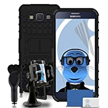 iTALKonline Samsung Galaxy A5 SM-A500F Black Black Tough Hard Shock Proof Rugged Heavy Duty Case Cover with Viewing Stand - 3 Layer LCD Screen Protector, 360 Degrees Rotating HEAVY DUTY Case Compatible In Car Windscreen Suction Mount Holder and 1000 mAh In Car Charger LED Indicator and Overload Protection