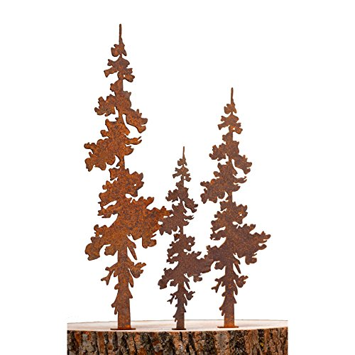 Elegant Garden Design Pine Tree Set of 3 Steel Silhouette with a Rusty Patina