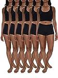 Sexy Basics Women's 6 Pack Modern Active Buttery Soft Boy Short Boxer Brief Panties (6 Pack- Midnight Black, 3XL)