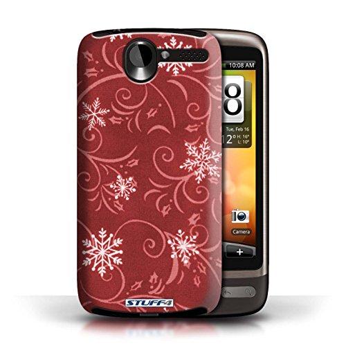 pour HTC Desire G7 / Rouge conception / Collection de Motif flocon de neige