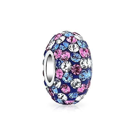 - Blue Pink Purple Multi Color Striped Crystal Spacer Bead Core 925 Sterling Silver Fits European Charm Bracelet For Women