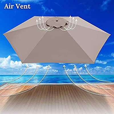 Umbrella Cover Canopy 9ft 8 Rib Patio Replacement Top Outdoor-Taupe : Garden & Outdoor