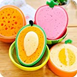 Thickyuan New Cute Strawberry Orange Mango Cantaloupe Fruit Shape Thicken Kitchen Bowl Pan Dish Washing Cloth Cleaning Towel Sponge Scouring Pad (4pcs/set)