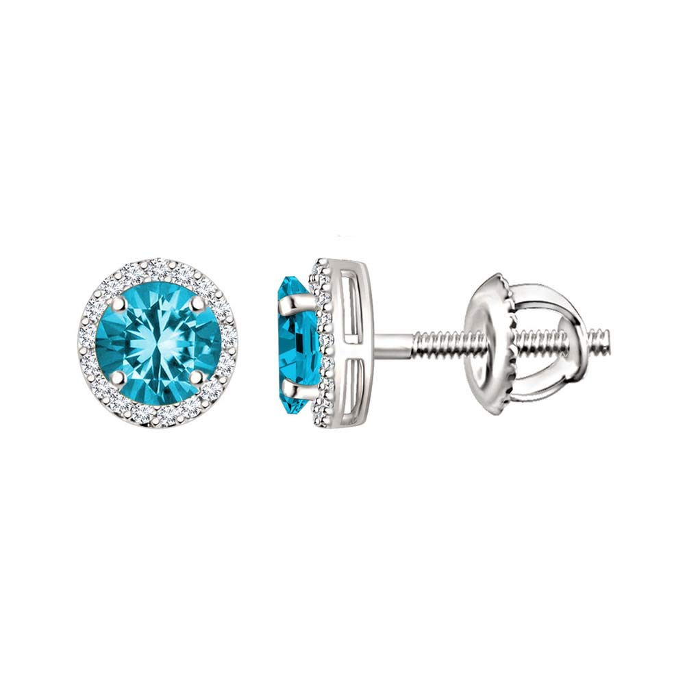 Dividiamonds 5mm Round Cut Simulated Diamonds Halo Stud Earrings For Womens In 14K White Gold Plated 925