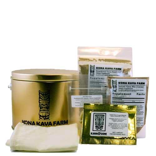 KONA KAVA Premium Kava Sampler Pack with Kava Powder, Instant Kava, Kava Capsules, and Muslin Extraction Bag