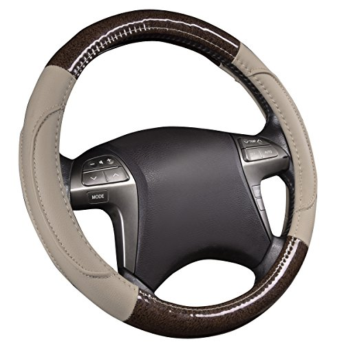 NEWARRIVAL-HORSE KINGDOM Genuine Leather Steering Wheel Covers Breathable Air-mesh Non-slip Set (beige)