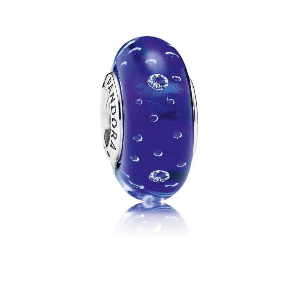 Qinger Dark Blue Effervescence in Silver w/Blue Glass & Cubic Zirconia For Pandora Bracelet Beads 791630CZ by Qinger   B00ZR82SF0