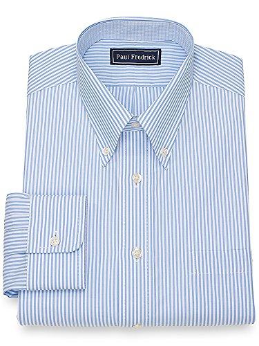 Paul Fredrick Men's Cotton Bengal Stripe Dress Shirt Blue 16.5/32 (Paul Fredrick Bengal Stripe Dress Shirt)