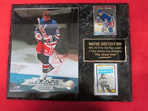 Wayne Gretzky New York Rangers 2 Card Collector Plaque w/8x10 photo FINAL GAME MAPLE LEAF ()