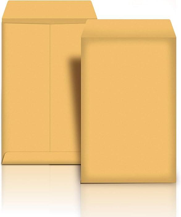 AmazonBasics Catalog Mailing Envelopes, Peel & Seal, 6x9 Inch, Brown Kraft, 100-Pack - AMZP12
