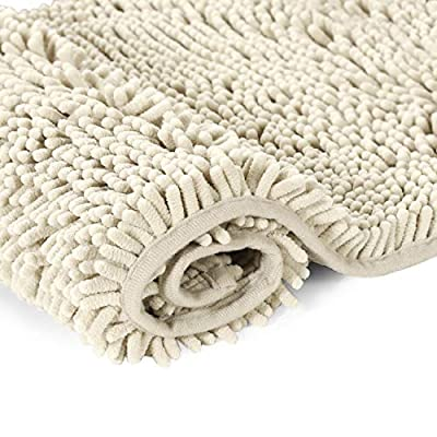 Cream Bath Mat Soft Shaggy Bathroom Rugs Rugs Luxury Microfiber Washable Bath Rug for Floor Bathroom Bedroom Living Room, 20 x 32 inches - SUPER SOFT: Crafted from thick and velvety microfiber chenille, give your feet the gift of exceptionally comfort and massage feeling, transform your bathroom into a home spa oasis BREATHABLE: With innovated new material SBE/Hot melt spray backing, helps keep mats airy and fresh and gentle to the floor, keep in space well when the floor is dry, perfect for stepping out of the shower or bath WELL ABSORBENT: The water on the mat dries quickly, keeping away from any mildew or moldy, spruce up your powder room for maximum serenity and warmth - bathroom-linens, bathroom, bath-mats - 51LHr2stViL. SS400  -